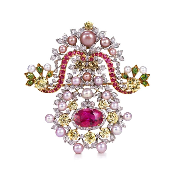 TIFFANY & CO. BROOCH Tiffany & Co. brooch, 1900 • Platinum, gold, diamond, pearls, ruby, garnet, sapphire • © Tiffany & Co. Archives 2013.