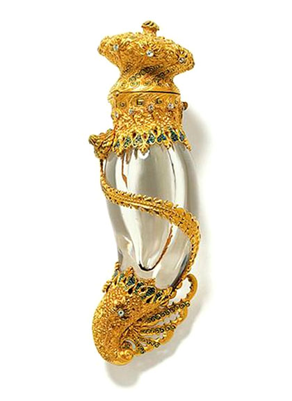 Tiffany & Co., Perfume bottle, ca. 1895 Gold, diamonds, rock crystal, quartz, enamel Courtesy of Museum of the City of New York/ Tiffany & Co. Archives