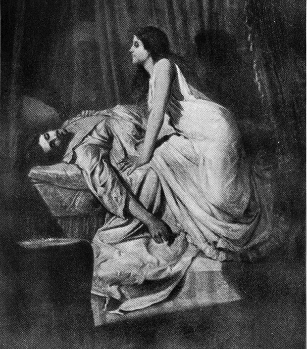 Early illustration of a female vampire which inspired Rudyard Kipling's poem 'The Vampire'. The Vampire, Rudyard Kipling, New York, 1899.