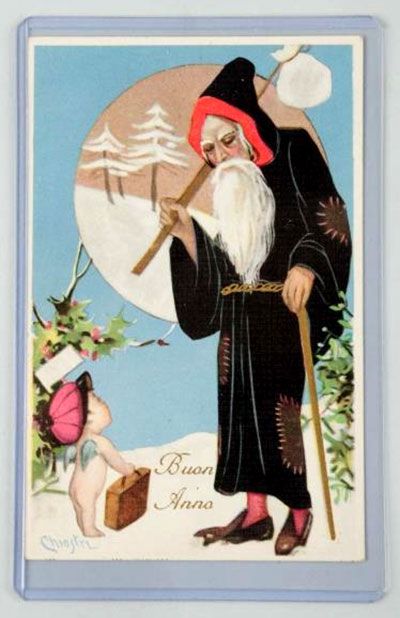 Chiostri Black Robed Santa Postcard. Art Deco Santa with a cherub, est. $150-$200. [Image credit: Morphy Auctions - www.morphyauctions.com]