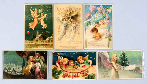 Lot of 6 Christmas Hold-to-Light postcards, all with angels, est. $200-$250. [Image credit: Morphy Auctions - www.morphyauctions.com]