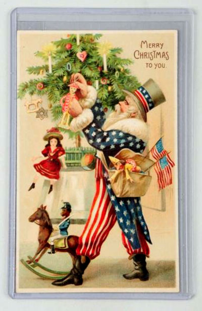 Uncle Sam Santa Embossed Postcard - est. $500-$800. [Image credit: Morphy Auctions - www.morphyauctions.com]