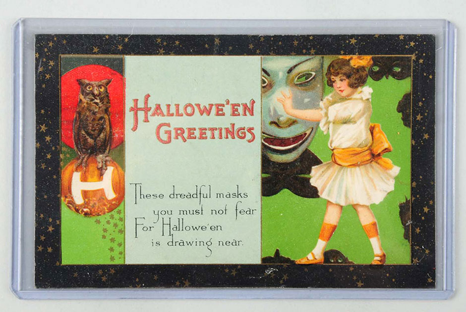 Rare Winsch Halloween postcard with artwork by Schmucker (unsigned), est. $400-$600. [Image credit: Morphy Auctions - www.morphyauctions.com]