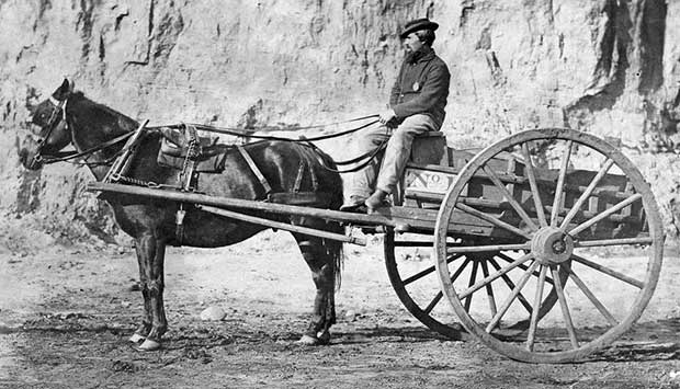 Man sitting in a horse drawn cart, c1861-1865. [Photo: Library of Congress]