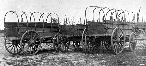 Three wagons, probably used for army supplies in Civil War, July 5, 1865. [Photo: Library of Congress]