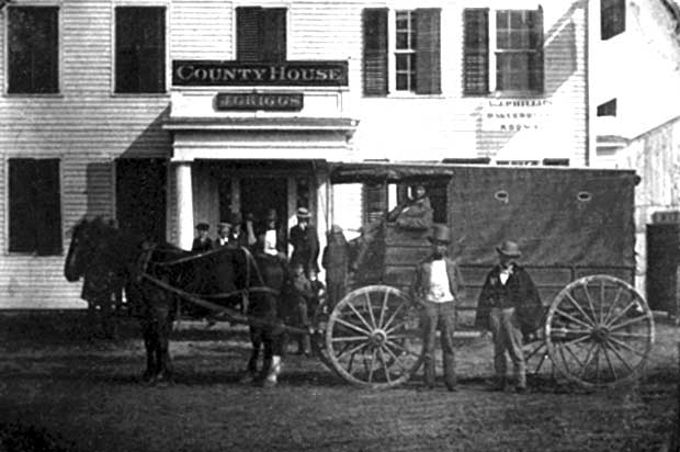 Daguerreotype of a horse and covered cart in front of white frame building in Connecticut, c.1850-60. [Photo: Library of Congress]