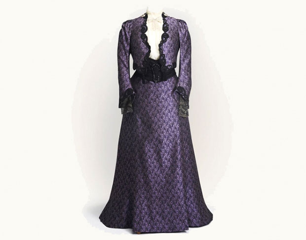 Violet Crawley, Dowager Countess of Grantham Purple Print Day Dress. Photo Credit: Exhibits Development Group.