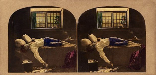 "Michael Burr ""The Death of Chatterton"" (red flowers) c.1861  photograph, hand colored albumen prints on stereo card. Collection Dr Brian May. [Photograph: Tate Britain]"