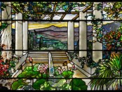 TIFFANCY WINDOW: Tiffany Studios (American, est. 1902). Garden landscape window, 1900-10. Photo by John Faier; Courtesy of The Richard H. Driehaus Museum
