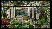 TIFFANCY WINDOW: Tiffany Studios (American, est. 1902). Garden landscape window, 1900-10. Photo by John Faier; Courtesy of The Richard H. Driehaus Museum