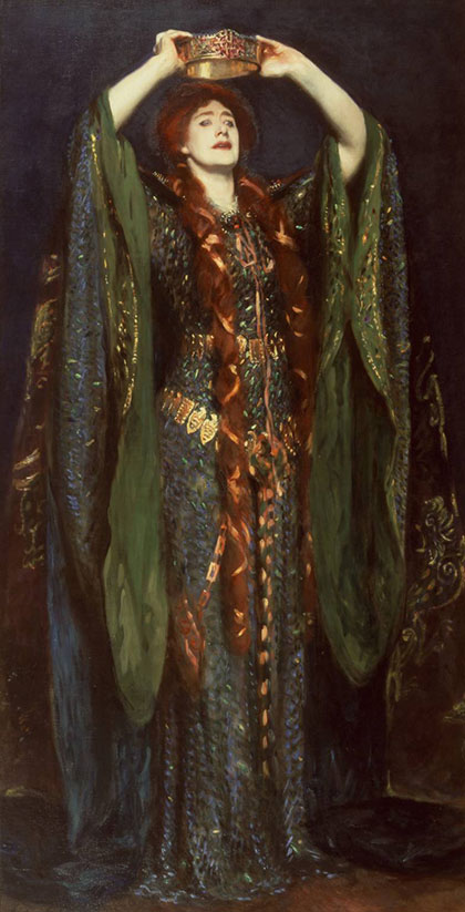 John Singer Sargent 'Ellen Terry as Lady Macbeth', 1889. The famous actress, Dame Ellen Terry (1847-1928), is shown here in the role of Lady Macbeth. At the first performance in 1888, Sargent was struck by Terry's appearance and persuaded her to sit for a portrait. Photograph: Metropolitan Museum of Art. See the original beetlewing dress fully restored.
