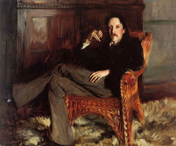 Sargent painted a series of three portraits of Robert Louis Stevenson. This last of the three portraits of Robert Louis Stevenson by Sargent was commissioned by the Boston banker Charles Fairchild as a gift for his wife Elizabeth Nelson Fairchild. Photograph: Metropolitan Museum of Art.
