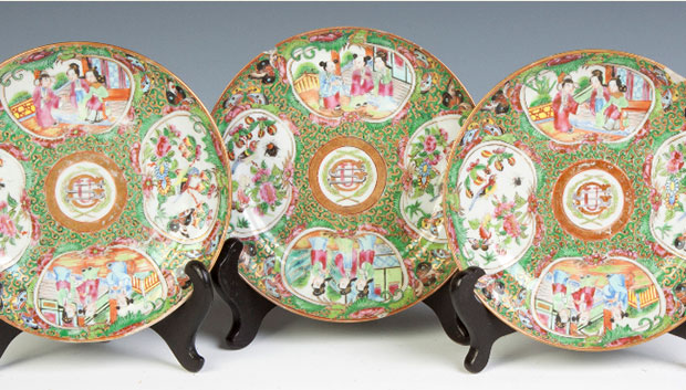 Three Ulysses S. Grant Chinese Porcelain Dessert Plates: With his monogram within a laurel wreath. From a unique service of 360 pieces ordered in 1868. Used by the family in the White House. Estimate: $500-$800. [Image credit: Cotton Auctions, Lot #614]