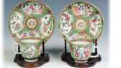 Two Ulysses S. Grant Chinese Porcelain Cup & Saucers: With his monogram within a laurel wreath. From a unique service of 360 pieces ordered in 1868. Used by the family in the White House. Estimate: $500-$800. [Image credit: Cotton Auctions, Lot #611]