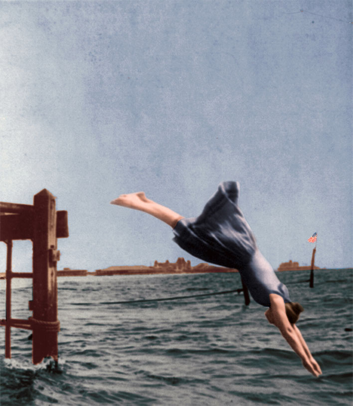 Woman Diving from Pier in 1892