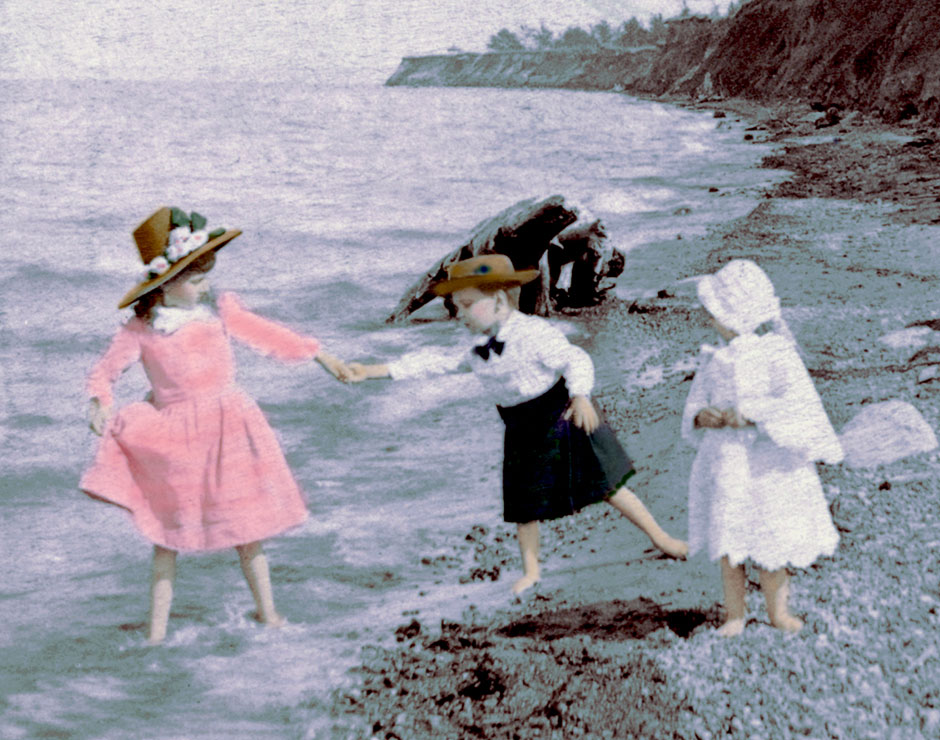 New York Beach in 1888 Three children enjoy a Lake Ontario beach in New York. One wades in the water while two stand in the sand. [Digitally colored by Victoriana Magazine from a period stereograph.]