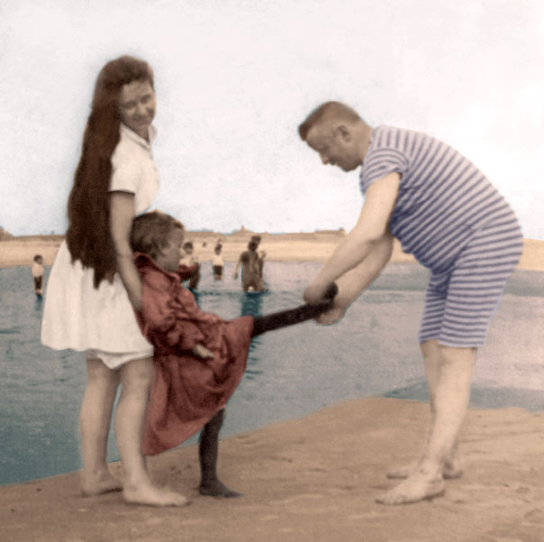 Family Fun in 1889 Families have a fun day at the beach no matter what century. [Digitally colored by Victoriana Magazine from a period stereograph.]