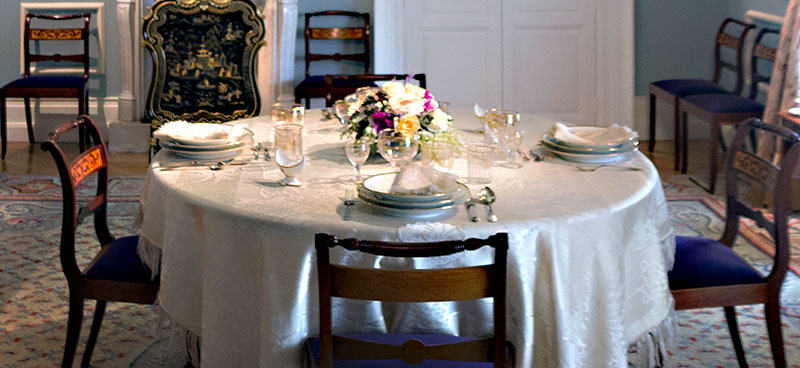 Round Table Setting A Dining Room